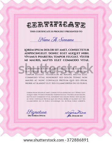 Sample Diploma. Frame certificate template Vector. With linear background. Elegant design. Pink color.
