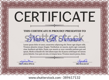 Sample Diploma. Frame certificate template Vector. With linear background. Elegant design. Red color.