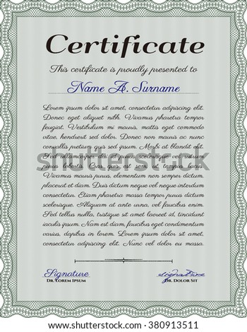 Sample Diploma. Modern design. With linear background. Frame certificate template Vector. Green color.