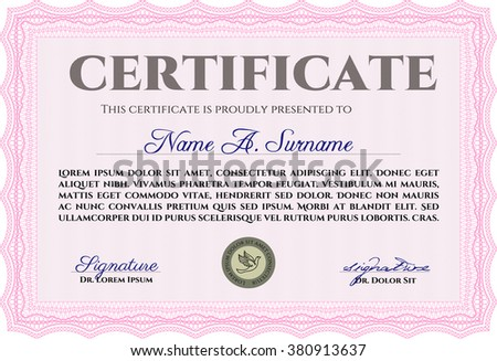 Sample Diploma. Modern design. With linear background. Frame certificate template Vector. Pink color.