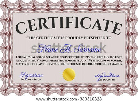 Sample Diploma. Money style.Elegant design. With guilloche pattern and background.