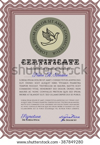 Sample Diploma. With linear background. Frame certificate template Vector. Modern design. Red color.