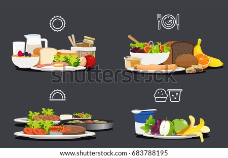 Sample food at each meal. Foods with health benefits. Advise of a balanced diet. Each type of food that the body should be in a day. - Shutterstock ID 683788195