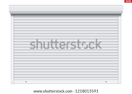 Sample of White garage Roller Shutters. Protect System for garage and shop. Vector Illustration isolated on white background. Stock photo ©