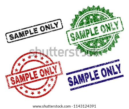 SAMPLE ONLY seal stamps with corroded style. Black, green,red,blue vector rubber prints of SAMPLE ONLY title with corroded style. Rubber seals with circle, rectangle, rosette shapes.