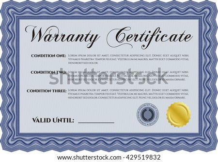 Sample Warranty. Beauty design. With linear background. Border, frame.