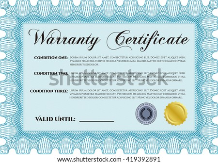 Sample Warranty. Border, frame. Beauty design. With linear background.