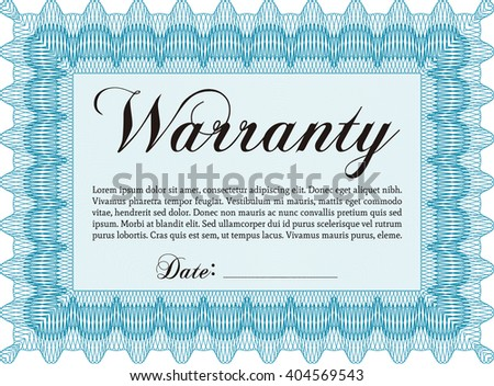 Sample Warranty. Border, frame. With linear background. Beauty design.