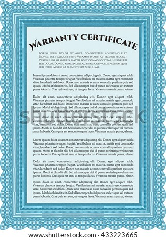 Sample Warranty certificate. Artistry design. With complex linear background. Vector illustration.