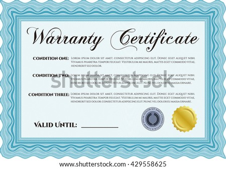 Sample Warranty certificate template. Elegant design. With guilloche pattern and background. Vector illustration.