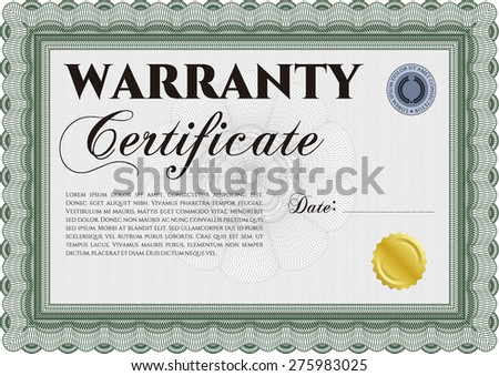 Sample warranty certificate template perfect style with sample text complex frame design for Warranty certificate template