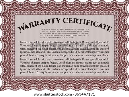Sample Warranty certificate template. Very Detailed. Complex design. With sample text.