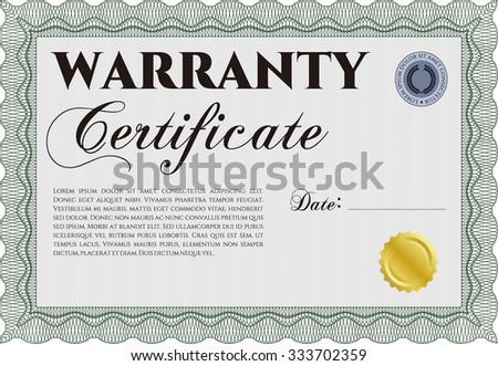 Sample Warranty certificate template. With sample text. Retro design. Easy to print.