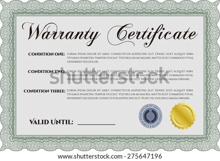 Sample Warranty certificate template. With sample text. Very Detailed. Complex design.
