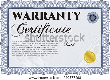 Sample Warranty certificate template. With sample text. With background. Retro design.