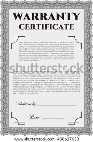 Sample Warranty certificate. Vector illustration. Artistry design. With complex linear background.