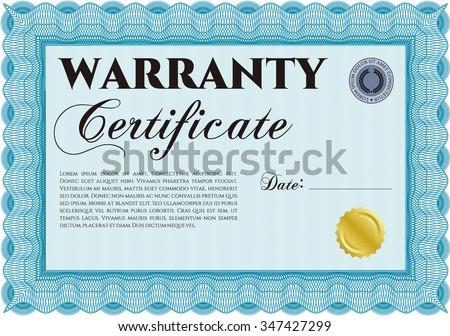 Sample Warranty certificate. Vector illustration. Complex frame design. With background.