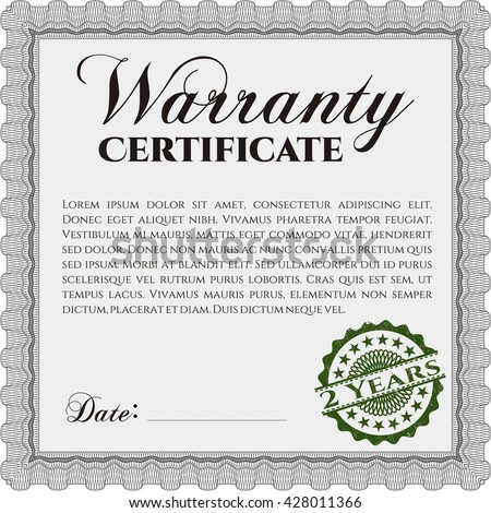 Sample Warranty certificate. Vector illustration. Excellent complex design. With guilloche pattern and background.