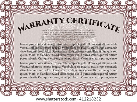 Sample Warranty certificate. With guilloche pattern and background. Excellent complex design. Vector illustration.