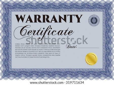 Sample Warranty certificate. With sample text. Perfect style. With sample text.