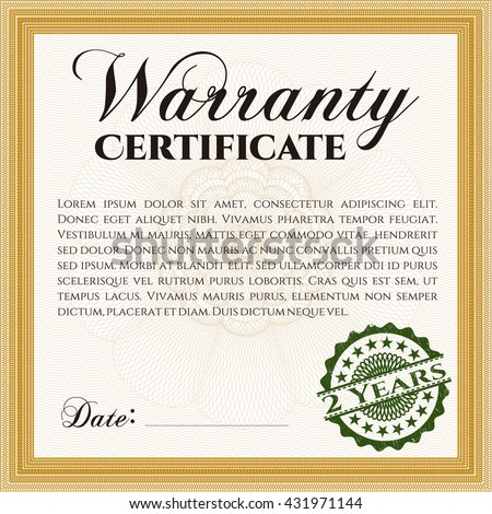 Sample Warranty template. Sophisticated design. With great quality guilloche pattern.