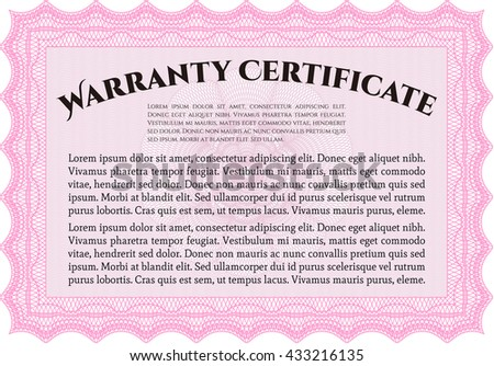 Sample Warranty template. With great quality guilloche pattern. Sophisticated design.