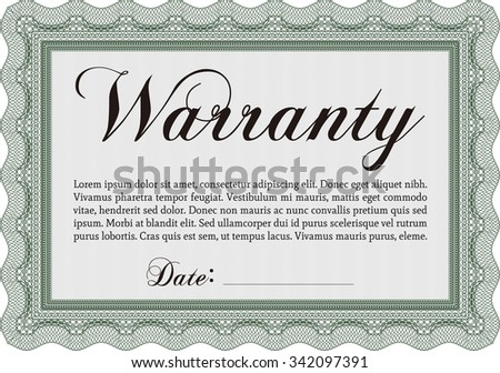 Sample Warranty. Vector illustration. With sample text. Easy to print.