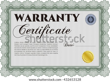 Sample Warranty. With linear background. Beauty design. Border, frame.