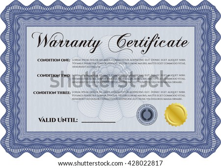 Sample Warranty. With linear background. Border, frame. Beauty design.