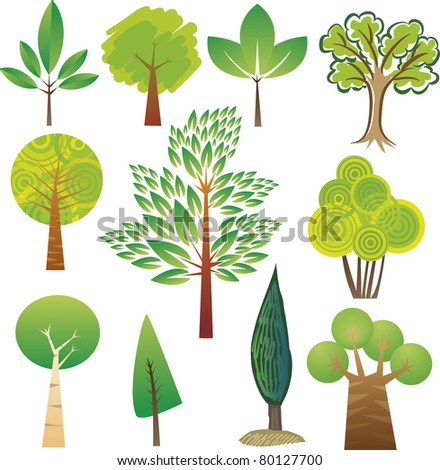 Samples of various tree species in various styles