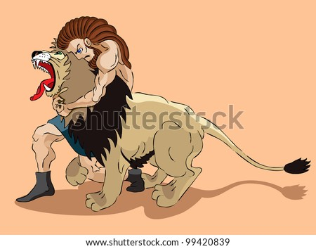 Samson the judge of Israel struggles with a lion