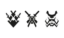 Samurai and swords. Abstract black and white logo set.