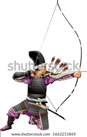 Samurai Archer, Japan Warrior Bushi with the bow, arrows and tachi sword katana, Japanese bowman wearing traditional war clothes and armor, Kyudo martial art of archery