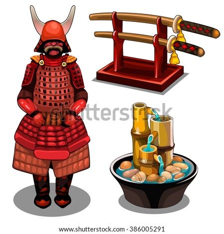 samurai armor and sword vector