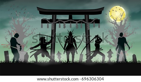 samurai attack zombie with