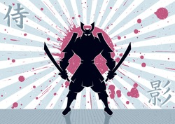 Samurai Background: Samurai warrior background. No transparency and gradients used.