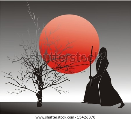 samurai beside tree (vector)