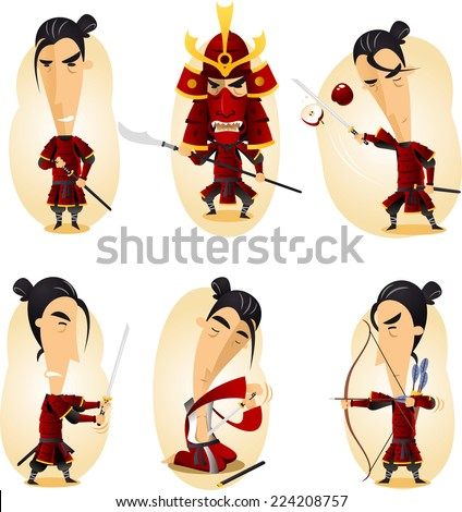 samurai cartoon action set