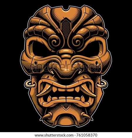 samurai gold mask vector