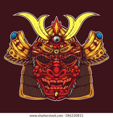 samurai head with dragon skull