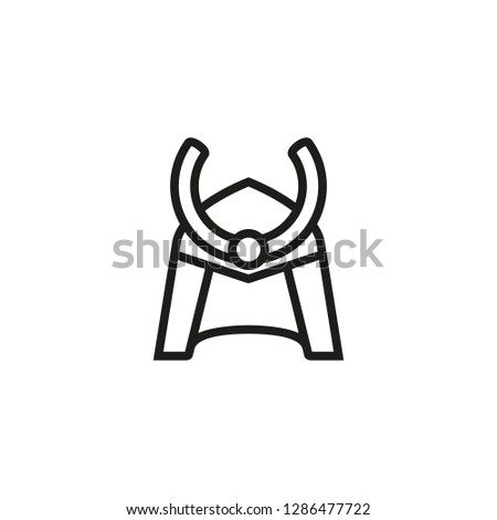 Samurai helmet line icon. Protection, defense, fighter. History concept. Can be used for topics like battles, ancient warriors, historical war outfit