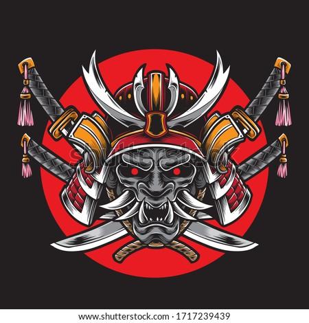 samurai helmet with katana sword vector