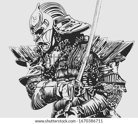 Samurai illustration. Ninja, black and gray.