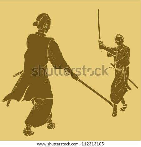 Samurai in dual stance, engraved style illustration