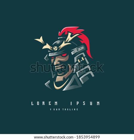 samurai logo design vector with