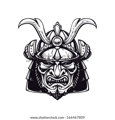 Samurai mask clip-art Black and white version isolated on white Japanese traditional martial mask Vector EPS 10 illustration