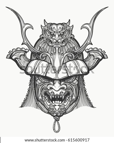 samurai mask hand drawn vector