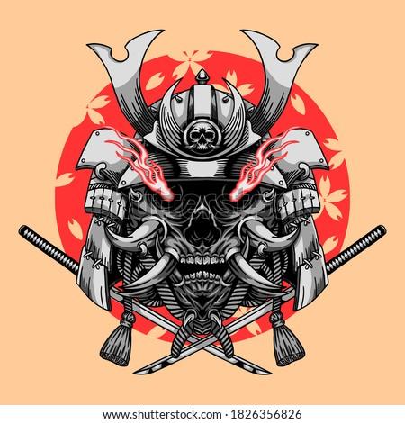 Samurai Mask with Katana Sword Illustration