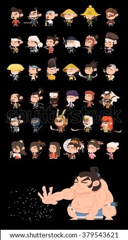 samurai ninja characters set