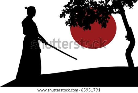 samurai silhouette in front of